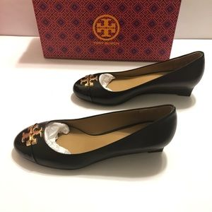 Tory Burch Everly 35 Mm Leather Cap Toe Wedge